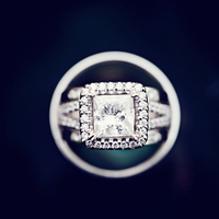 Halo Princess Engagement Ring