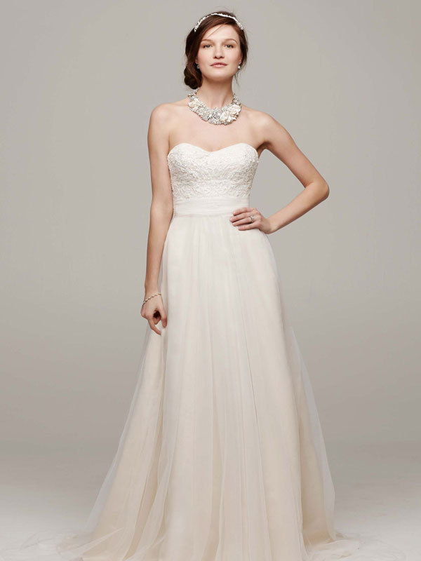 Lace, Sweetheart, A-line, Tulle, Floor, Sleeveless, sweep train, ivory/champagne, solid ivory, solid white