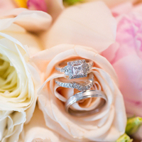Large Halo Princess Cut Engagement Ring