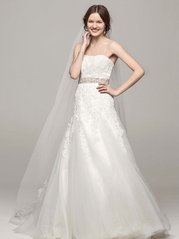 white, ivory, Strapless, A-line, Tulle, Floor, Chapel, Sleeveless