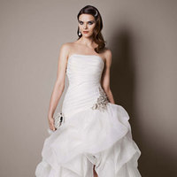 white, ivory, Strapless, Floor, Organza, Sleeveless, Ball gown, sweep train, pick up/drama