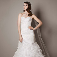 white, Strapless, Fit and flare, Floor, Organza, Sleeveless, soft white