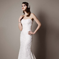 white, Lace, Strapless, Fit and flare, Floor, Sleeveless, chapel train, soft white