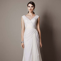 white, ivory, V-neck, Sheath, Floor, Chiffon, Chapel, Cap