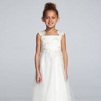 ivory, A-line, Tulle, Tank, Tea-length, Sleeveless