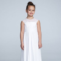 white, A-line, Floor, Chiffon, Scoop, Cap, Illusion