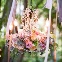 Crystal Chandelier with Flowers