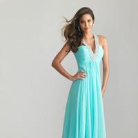 A-Line Rhinestone V-Neck Blue Chiffon Formal Evening Dress /Prom Dresses NTGowns 6609