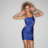 A-Line One-Shoulder Royal Blue Organza Short Mini Homecoming / Cocktail Dress/ Prom Dresses For Junior MLGowns 9157