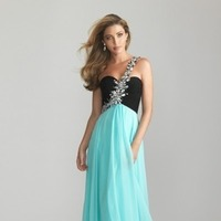 2014 A-Line One-Shouler Two Tones Chiffon Floor Formal Evening Dress/ Prom Dresses For Junior NTGowns 6617