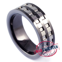 Tank Black #tungsten #rings with Cut Design