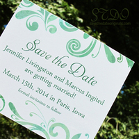 Pretty greens save the date