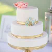 Pink Mint and Gold Wedding Cake