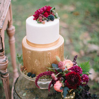 Cranberry and Gold Wedding Cake