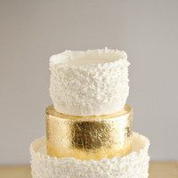 White and Gold Ruffled Cake