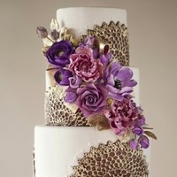 Gold and Purple Doily Cake