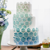 Modern Blue Patterned Cake