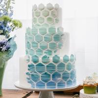 Modern Blue Patterned Cake
