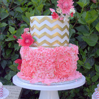 Pink Ruffles and Chevron