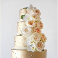 Gold Dotted Wedding Cake