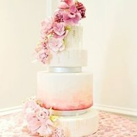 Pink and White Watercolor Cake