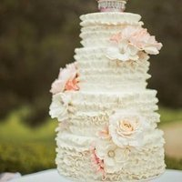 Ivory Ruffled Rose Cake
