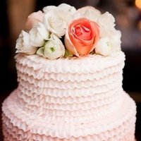 Ruffled Ombre Floral Cake