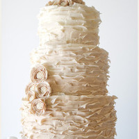 Beige Ruffed Wedding Cake