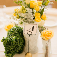 Boxwood and Rose Centerpieces