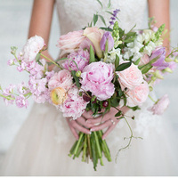 Stock, Peony, and Rose Bouquet