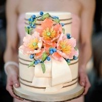 Pink Poppy Wedding Cake