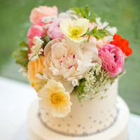 Poppy and Peony Topped Cake