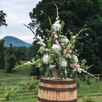 Ceremony Flowers on Wine Barrels