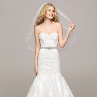 white, Lace, Sweetheart, Trumpet, Floor, Sleeveless, chapel train, soft white