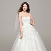 Lace, Sweetheart, Tulle, Floor, Sleeveless, Ball gown, chapel train, soft white