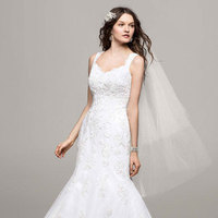 white, ivory, Lace, Tulle, Trumpet, Floor, Tank, Sleeveless, chapel train