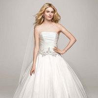 white, ivory, Strapless, Satin, Floor, Sleeveless, Ball gown, chapel train