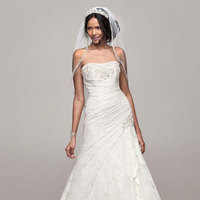 white, ivory, Lace, Strapless, Fit and flare, Sleeveless, chapel train, floorl