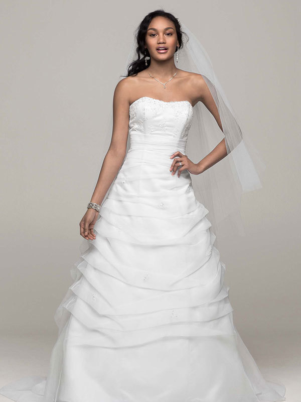 white, Strapless, Floor, Organza, Sleeveless, Ball gown, chapel train