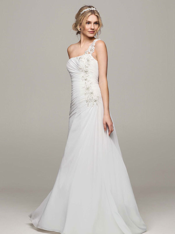 white, A-line, Floor, Chiffon, Sleeveless, One-shoulder, sweep train, soft white, soft a line