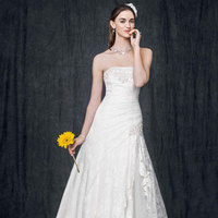 white, ivory, Lace, Strapless, Fit and flare, Floor, Sleeveless, chapel train