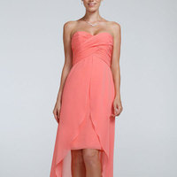 Sweetheart, Sheath, Chiffon, Sleeveless, High-low, available in all colors
