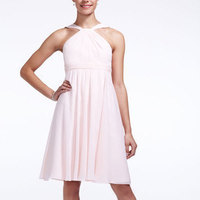 A-line, Halter, Short, Sleeveless, crinkle chiffon, available in all colors