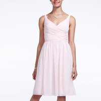 A-line, V-neck, Short, Chiffon, Sleeveless, available in all colors