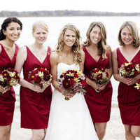 Deep Red V-Neck Dresses