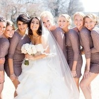 Gray Lace Bridesmaids Dresses