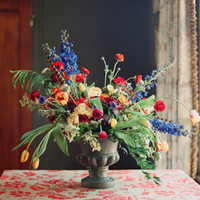 Blue and Red Reception Flowers