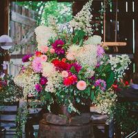 Vibrant Dahlia Reception Flowers