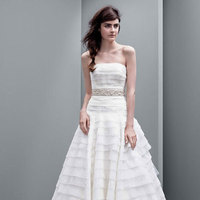ivory, Strapless, A-line, Tulle, Organza, drop waist