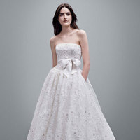 ivory, Lace, Floral, Strapless, Organza, Ball gown, sleevless